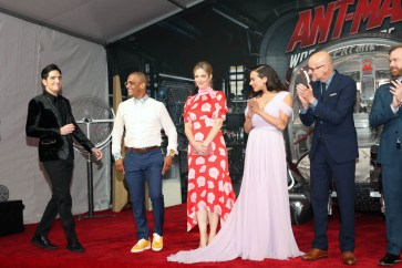 "HOLLYWOOD, CA - JUNE 25: (L-R) Actors David Dastmalchian, Tip ""T.I."" Harris, Judy Greer, Hannah John-Kamen, and Director Peyton Reed attend the Los Angeles Global Premiere for Marvel Studios' ""Ant-Man And The Wasp"" at the El Capitan Theatre on June 25, 2018 in Hollywood, California. (Photo by Jesse Grant/Getty Images for Disney) *** Local Caption *** David Dastmalchian; Tip ""T.I."" Harris; Judy Greer; Hannah John-Kamen; Peyton Reed"