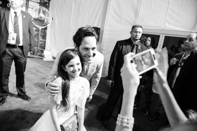 """HOLLYWOOD, CA - JUNE 25: ((EDITORS NOTE: Image has been shot in black and white. Color version not available.) Actors Abby Ryder Fortson (L) and Paul Rudd attend the Los Angeles Global Premiere for Marvel Studios' """"Ant-Man And The Wasp"""" at the El Capitan Theatre on June 25, 2018 in Hollywood, California. (Photo by Charley Gallay/Getty Images for Disney) *** Local Caption *** Abby Ryder Fortson; Paul Rudd"""
