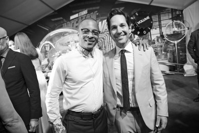 """HOLLYWOOD, CA - JUNE 25: ((EDITORS NOTE: Image has been shot in black and white. Color version not available.) Actors Tip """"T.I."""" Harris (L) and Paul Rudd attend the Los Angeles Global Premiere for Marvel Studios' """"Ant-Man And The Wasp"""" at the El Capitan Theatre on June 25, 2018 in Hollywood, California. (Photo by Charley Gallay/Getty Images for Disney) *** Local Caption *** Tip """"T.I."""" Harris; Paul Rudd"""