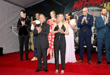 "HOLLYWOOD, CA - JUNE 25: (L-R) Actors David Dastmalchian, Tip ""T.I."" Harris, Michael Douglas, Judy Greer, Michelle Pfeiffer, Hannah John-Kamen, Director Peyton Reed, and Producer Stephen Broussard attend the Los Angeles Global Premiere for Marvel Studios' ""Ant-Man And The Wasp"" at the El Capitan Theatre on June 25, 2018 in Hollywood, California. (Photo by Jesse Grant/Getty Images for Disney) *** Local Caption *** David Dastmalchian; Tip ""T.I."" Harris; Judy Greer; Hannah John-Kamen; Michael Douglas; Michelle Pfeiffer; Stephen Broussard; Peyton Reed"