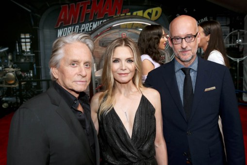 """HOLLYWOOD, CA - JUNE 25: (L-R) Actors Michael Douglas, Michelle Pfeiffer and Director Peyton Reed attend the Los Angeles Global Premiere for Marvel Studios' """"Ant-Man And The Wasp"""" at the El Capitan Theatre on June 25, 2018 in Hollywood, California. (Photo by Jesse Grant/Getty Images for Disney) *** Local Caption *** Michael Douglas; Michelle Pfeiffer; Peyton Reed"""