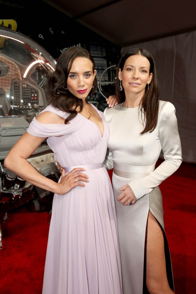 """HOLLYWOOD, CA - JUNE 25: Actors Hannah John-Kamen (L) and Evangeline Lilly attend the Los Angeles Global Premiere for Marvel Studios' """"Ant-Man And The Wasp"""" at the El Capitan Theatre on June 25, 2018 in Hollywood, California. (Photo by Jesse Grant/Getty Images for Disney) *** Local Caption *** Hannah John-Kamen; Evangeline Lilly"""