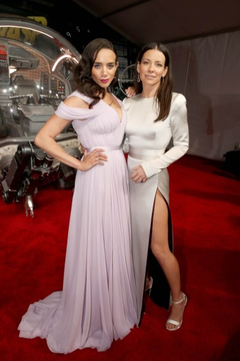"HOLLYWOOD, CA - JUNE 25: Actors Hannah John-Kamen (L) and Evangeline Lilly attend the Los Angeles Global Premiere for Marvel Studios' ""Ant-Man And The Wasp"" at the El Capitan Theatre on June 25, 2018 in Hollywood, California. (Photo by Jesse Grant/Getty Images for Disney) *** Local Caption *** Hannah John-Kamen; Evangeline Lilly"