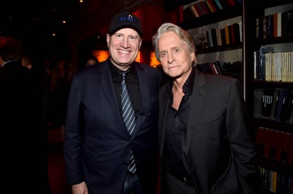 """HOLLYWOOD, CA - JUNE 25: Producer Kevin Feige (L) and actor Michael Douglas attend the Los Angeles Global Premiere for Marvel Studios' """"Ant-Man And The Wasp"""" at the El Capitan Theatre on June 25, 2018 in Hollywood, California. (Photo by Alberto E. Rodriguez/Getty Images for Disney) *** Local Caption *** Kevin Feige; Michael Douglas"""