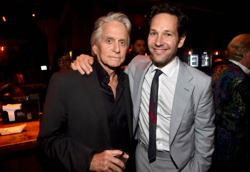 """HOLLYWOOD, CA - JUNE 25: Actors Michael Douglas (L) and Paul Rudd attend the Los Angeles Global Premiere for Marvel Studios' """"Ant-Man And The Wasp"""" at the El Capitan Theatre on June 25, 2018 in Hollywood, California. (Photo by Alberto E. Rodriguez/Getty Images for Disney) *** Local Caption *** Michael Douglas; Paul Rudd"""