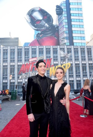 """HOLLYWOOD, CA - JUNE 25: Actor David Dastmalchian (L) and Evelyn Leigh attend the Los Angeles Global Premiere for Marvel Studios' """"Ant-Man And The Wasp"""" at the El Capitan Theatre on June 25, 2018 in Hollywood, California. (Photo by Alberto E. Rodriguez/Getty Images for Disney) *** Local Caption *** David Dastmalchian; Evelyn Leigh"""