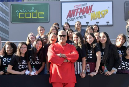 """HOLLYWOOD, CA - JUNE 25: Actor Laurence Fishburne and Girls Who Code attend the Los Angeles Global Premiere for Marvel Studios' """"Ant-Man And The Wasp"""" at the El Capitan Theatre on June 25, 2018 in Hollywood, California. (Photo by Charley Gallay/Getty Images for Disney) *** Local Caption *** Laurence Fishburne"""