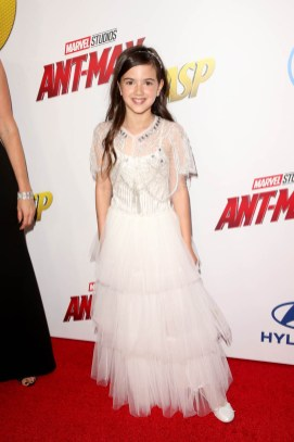 "HOLLYWOOD, CA - JUNE 25: Actor Abby Ryder Fortson attends the Los Angeles Global Premiere for Marvel Studios' ""Ant-Man And The Wasp"" at the El Capitan Theatre on June 25, 2018 in Hollywood, California. (Photo by Jesse Grant/Getty Images for Disney) *** Local Caption *** Abby Ryder Fortson"