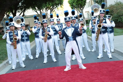 """Disneyland Band performs during the dedication and re-naming of the historic Orchestra Stage, now the Sherman Brothers Stage A, on the Disney Burbank lot prior to the world premiere of Disney's """"Christopher Robin"""" at the studio's Main Theater, on July 30, 2018 in Burbank, CA (Photo: Alex J. Berliner/ABImages)"""