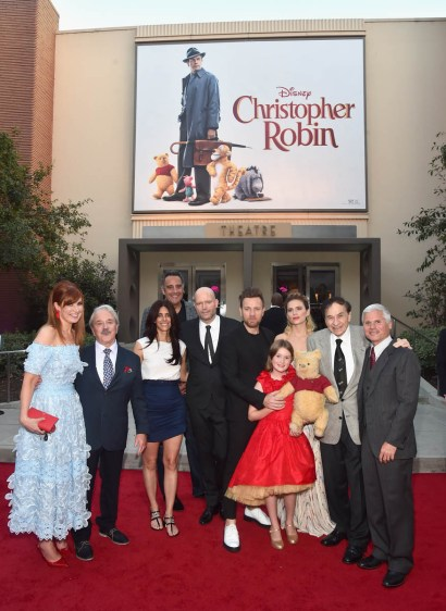 BURBANK, CA - JULY 30: (L-R) Producer Kristin Burr, actor Jim Cummings, executive producer Renee Wolfe, actor Brad Garrett, director Marc Forster, actors Ewan McGregor, Bronte Carmichael, Hayley Atwell, songwriter Richard M. Sherman and producer Brigham Taylor attend the world premiere of Disney's 'Christopher Robin' at the Main Theater on the Walt Disney Studios lot in Burbank, CA on July 30, 2018. (Photo by Alberto E. Rodriguez/Getty Images for Disney) *** Local Caption *** Kristin Burr; Jim Cummings; Renee Wolfe; Brad Garrett; Marc Forster; Ewan McGregor; Bronte Carmichael; Hayley Atwell; Richard M. Sherman; Brigham Taylor