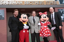 "Ewan McGregor, Mickey Mouse, Richard M. Sherman, Minnie Mouse and Director Marc Forster pose together at the dedication and re-naming of the historic Orchestra Stage, now the Sherman Brothers Stage A, on the Disney Burbank lot prior to the world premiere of Disney's ""Christopher Robin"" at the studio's Main Theater, on July 30, 2018 in Burbank, CA (Photo: Alex J. Berliner/ABImages)"
