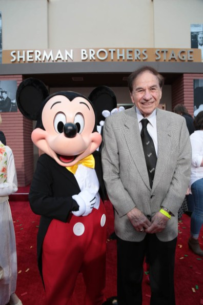 "Mickey Mouse and Richard M. Sherman pose together at the dedication and re-naming of the historic Orchestra Stage, now the Sherman Brothers Stage A, on the Disney Burbank lot prior to the world premiere of Disney's ""Christopher Robin"" at the studio's Main Theater, on July 30, 2018 in Burbank, CA (Photo: Alex J. Berliner/ABImages)"