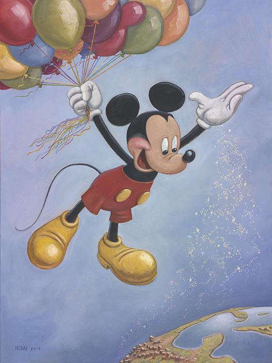 Spreading Happiness Around the World - Mickey Mouse's 90th Birthday Portrait by Mark Henn