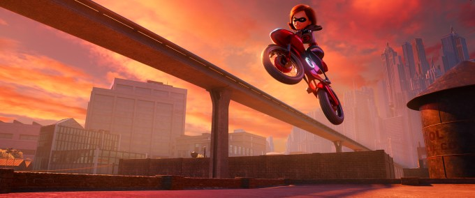 """SUPER CYCLE – When Helen aka Elastigirl is called on to help bring Supers back in """"Incredibles 2,"""" she employs a brand-new, specially designed, state-of-the-art Elasticycle. Written and directed by Brad Bird and featuring the voice of Holly Hunter as Helen, Disney•Pixar's """"Incredibles 2"""" busts into cinemas on July 13, 2018. ©2018 Disney•Pixar. All Rights reserved."""
