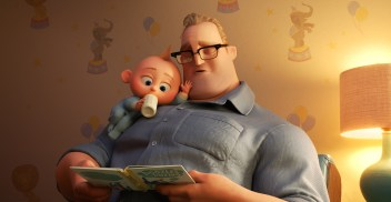 """BEDTIME STORY – In """"Incredibles 2,"""" Bob navigates life at home with the Parr kids while Helen leads a campaign to bring back Supers. But when baby Jack-Jack shows some surprising changes - including the appearance of a few unexpected super powers—Bob finds that it's challenging to keep up (and awake), even for Mr. Incredible. Featuring Craig T. Nelson as the voice of Bob, Disney-Pixar's """"Incredibles 2"""" opens in U.S. theaters on June 15, 2018. ©2018 Disney•Pixar. All Rights Reserved."""