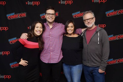 NEW YORK, NY - OCTOBER 05: Dani Fernandez (L) poses with RALPH BREAKS THE INTERNET writer/director Phil Johnston, head of story Josie Trinidad, and director Rich Moore before revealing new details about the production and unveiling never-before-seen footage during a conversation at New York Comic Con at Jacob Javitz Center on October 5, 2018, in New York City. (Photo by Ben Gabbe/Getty Images for Disney Studios) *** Local Caption *** Dani Fernandez; Phil Johnston; Josie Trinidad; Rich Moore
