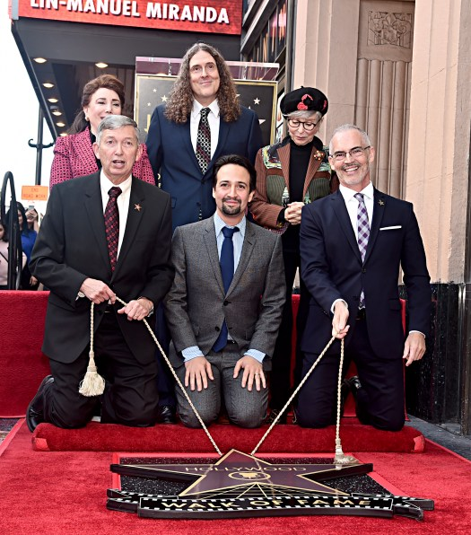 "LOS ANGELES, CALIFORNIA - NOVEMBER 30: (Back L-R) Chair of the Hollywood Chamber of Commerce Board of Directors, Donelle Dadigan, ""Weird Al"" Yankovic and Rita Moreno (Front L-R) Leron Gubler, Lin-Manuel Miranda and LA City Councilman Mitch O'Farrell attend the ceremony honoring Lin-Manuel Miranda with a Star on the Hollywood Walk of Fame on November 30, 2018 in Hollywood, California. (Photo by Alberto E. Rodriguez/Getty Images for Disney)"