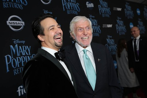 Lin-Manuel Miranda and Dick Van Dyke arrive at The World Premiere of Disney's Mary Poppins Returns at the Dolby Theatre in Hollywood, CA on Wednesday, November 29, 2018 (Photo: Alex J. Berliner/ABImages)