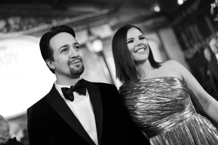 HOLLYWOOD, CA - NOVEMBER 29: (EDITORS NOTE: Image has been shot in black and white. No color version available) Actor Lin-Manuel Miranda (L) and Vanessa Nadal attend Disney's 'Mary Poppins Returns' World Premiere at the Dolby Theatre on November 29, 2018 in Hollywood, California. (Photo by Charley Gallay/Getty Images for Disney) *** Local Caption *** Lin-Manuel Miranda; Vanessa Nadal