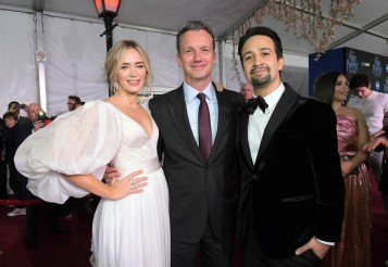 HOLLYWOOD, CA - NOVEMBER 29: (L-R) Actor Emily Blunt, President of Walt Disney Studios Motion Picture Production, Sean Bailey and actor Lin-Manuel Miranda attend Disney's 'Mary Poppins Returns' World Premiere at the Dolby Theatre on November 29, 2018 in Hollywood, California. (Photo by Charley Gallay/Getty Images for Disney) *** Local Caption *** Emily Blunt; Sean Bailey; Lin-Manuel Miranda