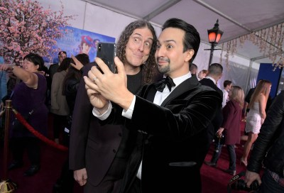 """HOLLYWOOD, CA - NOVEMBER 29: """"Weird Al"""" Yankovic (L) and actor Lin-Manuel Miranda attend Disney's 'Mary Poppins Returns' World Premiere at the Dolby Theatre on November 29, 2018 in Hollywood, California. (Photo by Charley Gallay/Getty Images for Disney) *** Local Caption *** """"Weird Al"""" Yankovic; Lin-Manuel Miranda"""