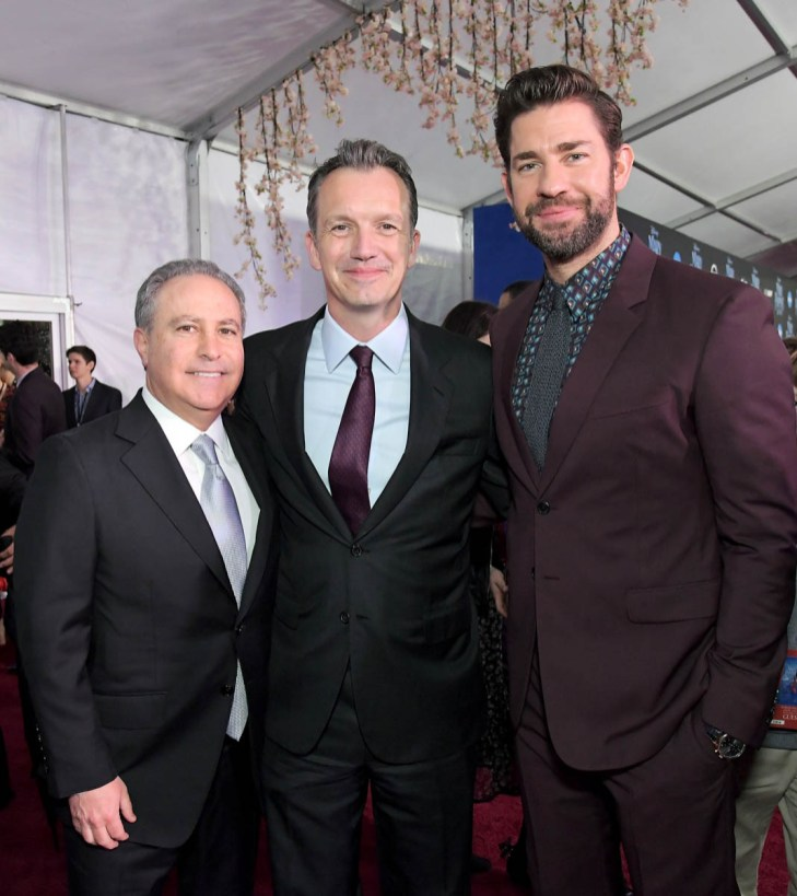 HOLLYWOOD, CA - NOVEMBER 29: (L-R) Walt Disney Studios President, Alan Bergman, President of Walt Disney Studios Motion Picture Production, Sean Bailey and actor John Krasinski attend Disney's 'Mary Poppins Returns' World Premiere at the Dolby Theatre on November 29, 2018 in Hollywood, California. (Photo by Charley Gallay/Getty Images for Disney) *** Local Caption *** Alan Bergman; Sean Bailey; John Krasinski