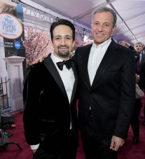 HOLLYWOOD, CA - NOVEMBER 29: Actor Lin-Manuel Miranda (L) and The Walt Disney Company Chairman and CEO Bob Iger attend Disney's 'Mary Poppins Returns' World Premiere at the Dolby Theatre on November 29, 2018 in Hollywood, California. (Photo by Charley Gallay/Getty Images for Disney) *** Local Caption *** Lin-Manuel Miranda; Bob Iger