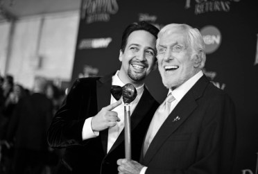 HOLLYWOOD, CA - NOVEMBER 29: (EDITORS NOTE: Image has been shot in black and white. No color version available) Actors Lin-Manuel Miranda and Dick Van Dyke attend Disney's 'Mary Poppins Returns' World Premiere at the Dolby Theatre on November 29, 2018 in Hollywood, California. (Photo by Charley Gallay/Getty Images for Disney) *** Local Caption *** Lin-Manuel Miranda; Dick Van Dyke