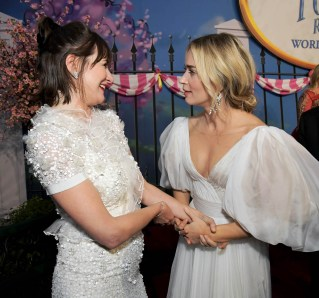 HOLLYWOOD, CA - NOVEMBER 29: Actors Emily Mortimer (L) and Emily Blunt attend Disney's 'Mary Poppins Returns' World Premiere at the Dolby Theatre on November 29, 2018 in Hollywood, California. (Photo by Charley Gallay/Getty Images for Disney) *** Local Caption *** Emily Blunt; Emily Mortimer