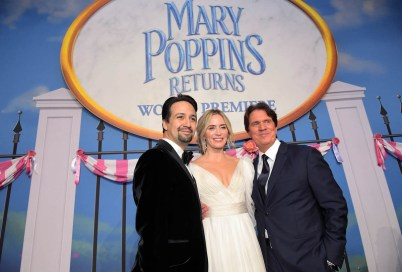 HOLLYWOOD, CA - NOVEMBER 29: (L-R) Actors Lin-Manuel Miranda, Emily Blunt and Director/producer Rob Marshall attend Disney's 'Mary Poppins Returns' World Premiere at the Dolby Theatre on November 29, 2018 in Hollywood, California. (Photo by Charley Gallay/Getty Images for Disney) *** Local Caption *** Lin-Manuel Miranda; Emily Blunt; Rob Marshall