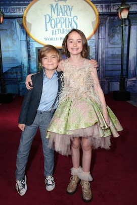 Joel Dawson and Pixie Davies attend The World Premiere of Disney's Mary Poppins Returns at the Dolby Theatre in Hollywood, CA on Wednesday, November 29, 2018 (Photo: Alex J. Berliner/ABImages)
