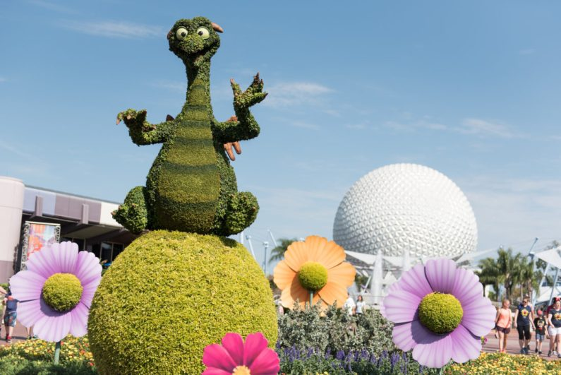 Figment returns in topiary form to the 25th Epcot International Flower & Garden Festival which runs 90 days Feb. 28-May 28, 2018, at Walt Disney World Resort in Lake Buena Vista, Fla. The festival features dozens of character topiaries, stunning floral displays, creative gardens and exhibits, 15 Outdoor Kitchens with herb and produce gardens, plus the Garden Rocks concert series. (Harrison Cooney)