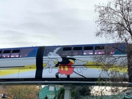 Blue Monorail With Mickey Mouse Paint Job at Disneyland-4