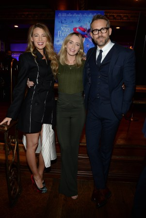- New York, NY - 01/10/2018 - Ryan Reynolds and Blake Lively hosted a Mary Poppins Returns reception in New York at Feinstein`s / 54 Below followed by a special screening of the movie which has been nominated for 4 Golden Globe Awards including Best Picture, 9 Critics` Choice Awards and AFI`s Top 10 Films of 2018, earlier tonight. The film`s star Emily Blunt, Rob Marshall (director), John DeLuca (producer), David Magee (screenwriter), Marc Shaiman (composer, songwriter/co-lyricist) and Scott Wittman (co-lyricist) joined the couple at the reception. -PICTURED: Blake Lively,Emily Blunt,Ryan Reynolds -PHOTO by: Michael Simon/startraksphoto.com -MS57195 Editorial - Rights Managed Image - Please contact www.startraksphoto.com for licensing fee Startraks Photo Startraks Photo New York, NY For licensing please call 212-414-9464 or email sales@startraksphoto.com Image may not be published in any way that is or might be deemed defamatory, libelous, pornographic, or obscene. Please consult our sales department for any clarification or question you may have Startraks Photo reserves the right to pursue unauthorized users of this image. If you violate our intellectual property you may be liable for actual damages, loss of income, and profits you derive from the use of this image, and where appropriate, the cost of collection and/or statutory damages.