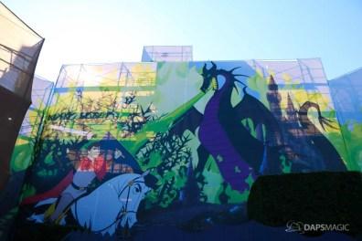 New Scrims on Sleeping Beauty Castle Refurbishment Walk Around at the Disneyland Resort-2