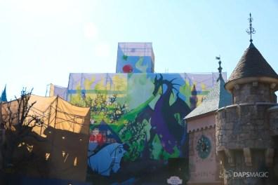 New Scrims on Sleeping Beauty Castle Refurbishment Walk Around at the Disneyland Resort-6