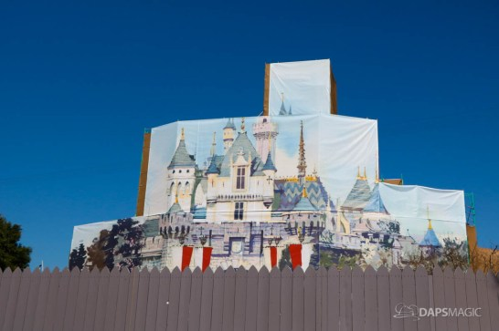 New Scrims on Sleeping Beauty Castle Refurbishment Walk Around at the Disneyland Resort-7