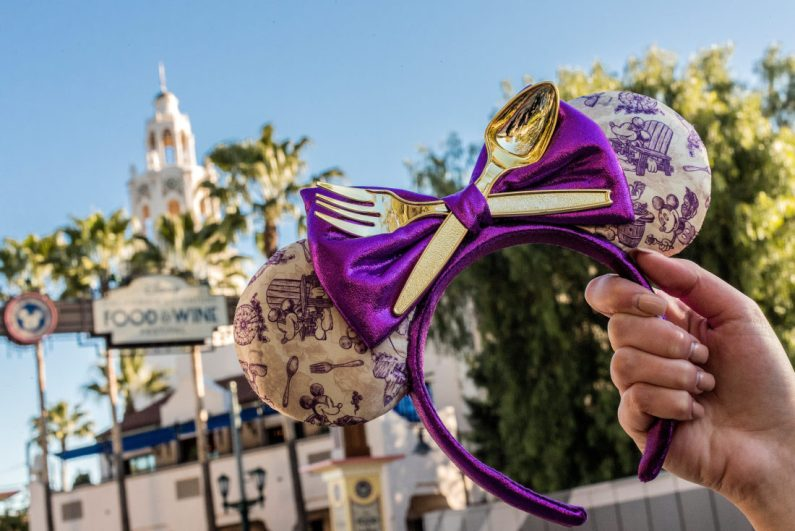 The Disney California Adventure Food & Wine Festival Minnie Mouse ears headband makes the perfect pairing for the culinary event taking place March 1 to April 23, 2019. During the Disney California Adventure Food & Wine Festival, guests will explore California-inspired cuisine and beverages, plus live entertainment, family-friendly seminars and cooking demonstrations. (Joshua Sudock/Disneyland Resort)