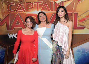 "HOLLYWOOD, CA - MARCH 04: (L-R) Director/Writer Anna Boden, Executive Producer Victoria Alonso, and Actor Gemma Chan attend the Los Angeles World Premiere of Marvel Studios' ""Captain Marvel"" at Dolby Theatre on March 4, 2019 in Hollywood, California. (Photo by Charley Gallay/Getty Images for Disney) *** Local Caption *** Anna Boden; Victoria Alonso; Gemma Chan"