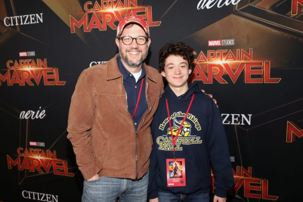 "HOLLYWOOD, CA - MARCH 04: (L-R) Michael Giacchino and guest attend the Los Angeles World Premiere of Marvel Studios' ""Captain Marvel"" at Dolby Theatre on March 4, 2019 in Hollywood, California. (Photo by Jesse Grant/Getty Images for Disney) *** Local Caption *** Michael Giacchino"