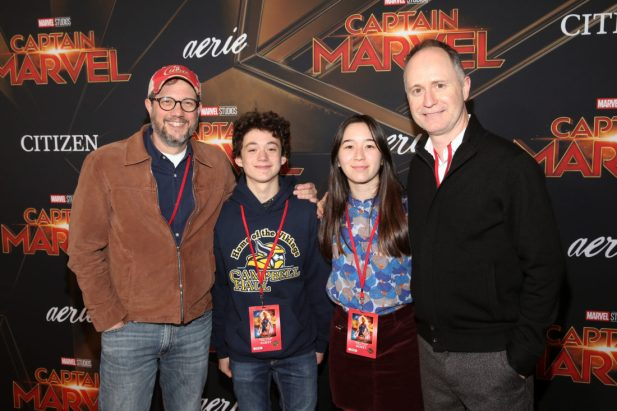 "HOLLYWOOD, CA - MARCH 04: (L-R) Michael Giacchino and guests attend the Los Angeles World Premiere of Marvel Studios' ""Captain Marvel"" at Dolby Theatre on March 4, 2019 in Hollywood, California. (Photo by Jesse Grant/Getty Images for Disney) *** Local Caption *** Michael Giacchino"