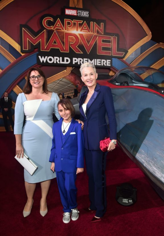 "HOLLYWOOD, CA - MARCH 04: (L-R) Executive Producer Victoria Alonso, guest, and Imelda Corcoran attend the Los Angeles World Premiere of Marvel Studios' ""Captain Marvel"" at Dolby Theatre on March 4, 2019 in Hollywood, California. (Photo by Alberto E. Rodriguez/Getty Images for Disney) *** Local Caption *** Imelda Corcoran; Victoria Alonso"