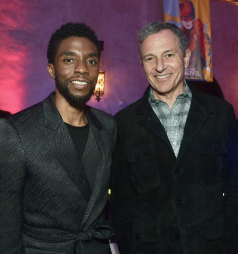 "HOLLYWOOD, CA - MARCH 04: (L-R) Chadwick Boseman and The Walt Disney Company Chairman and CEO Bob Iger attend the Los Angeles World Premiere of Marvel Studios' ""Captain Marvel"" at Dolby Theatre on March 4, 2019 in Hollywood, California. (Photo by Alberto E. Rodriguez/Getty Images for Disney) *** Local Caption *** Chadwick Boseman; Bob Iger"