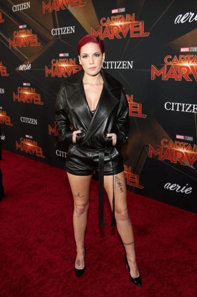 "HOLLYWOOD, CA - MARCH 04: Halsey attends the Los Angeles World Premiere of Marvel Studios' ""Captain Marvel"" at Dolby Theatre on March 4, 2019 in Hollywood, California. (Photo by Jesse Grant/Getty Images for Disney) *** Local Caption *** Halsey"