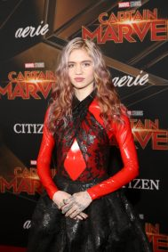"HOLLYWOOD, CA - MARCH 04: Grimes attends the Los Angeles World Premiere of Marvel Studios' ""Captain Marvel"" at Dolby Theatre on March 4, 2019 in Hollywood, California. (Photo by Jesse Grant/Getty Images for Disney) *** Local Caption *** Grimes"