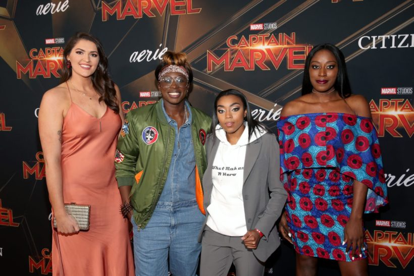 "HOLLYWOOD, CA - MARCH 04: (L-R) Stefanie Dolson, Essence Carson, Renee Montgomery, and Chiney Ogwumike attend the Los Angeles World Premiere of Marvel Studios' ""Captain Marvel"" at Dolby Theatre on March 4, 2019 in Hollywood, California. (Photo by Jesse Grant/Getty Images for Disney) *** Local Caption *** Chiney Ogwumike; Essence Carson; Renee Montgomery; Stefanie Dolson"