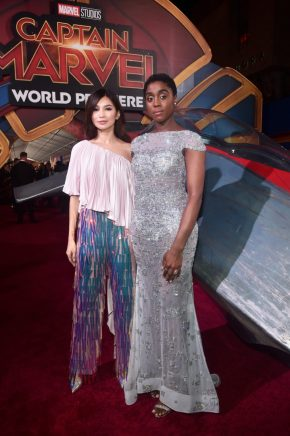"HOLLYWOOD, CA - MARCH 04: (L-R) Actors Gemma Chan and Lashana Lynch attend the Los Angeles World Premiere of Marvel Studios' ""Captain Marvel"" at Dolby Theatre on March 4, 2019 in Hollywood, California. (Photo by Alberto E. Rodriguez/Getty Images for Disney) *** Local Caption *** Lashana Lynch; Gemma Chan"