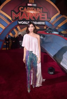 "HOLLYWOOD, CA - MARCH 04: Actor Gemma Chan attends the Los Angeles World Premiere of Marvel Studios' ""Captain Marvel"" at Dolby Theatre on March 4, 2019 in Hollywood, California. (Photo by Alberto E. Rodriguez/Getty Images for Disney) *** Local Caption *** Gemma Chan"