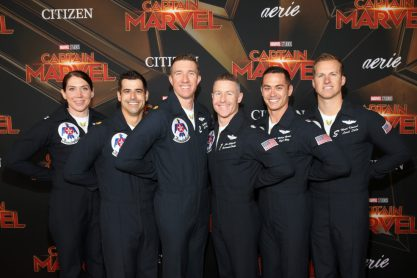 "HOLLYWOOD, CA - MARCH 04: Air Force Thunderbirds pilots attend the Los Angeles World Premiere of Marvel Studios' ""Captain Marvel"" at Dolby Theatre on March 4, 2019 in Hollywood, California. (Photo by Jesse Grant/Getty Images for Disney)"