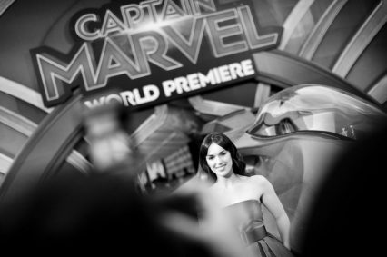 "HOLLYWOOD, CA - MARCH 04: (EDITORS NOTE: Image has been shot in black and white. Color version not available.) Actor Elizabeth Henstridge attends the Los Angeles World Premiere of Marvel Studios' ""Captain Marvel"" at Dolby Theatre on March 4, 2019 in Hollywood, California. (Photo by Charley Gallay/Getty Images for Disney) *** Local Caption *** Elizabeth Henstridge"